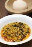 Egusi汤和fufu,尼日利亚烹调 库存图片