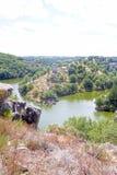 Eguzon湖从从上流看见 免版税图库摄影