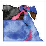 egypt översikt Färgglad vattenfärgEgypten översikt stock illustrationer