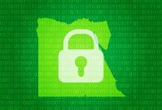 egypt översikt illustration med bakgrund för lås och för binär kod internet som blockerar, virusattack, avskildhet skyddar royaltyfri illustrationer