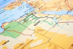 Egypt. Map with Nile and Sahara desert Stock Photos
