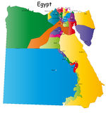 Egypt. Map designed in illustration with regions colored in bright colors. Vector illustration Stock Photography