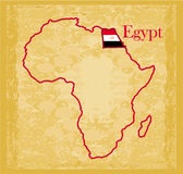 Egypt on actual vintage political map of africa Stock Photos