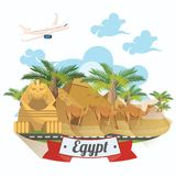 Egypt advertising vector with airplane. Welcome to Egypt. Egyptian traditional icons in flat design. Holiday banner. Royalty Free Stock Photos