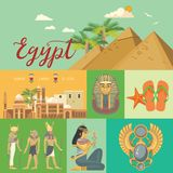 Egypt advertising vector. Vintage style. Welcome to Egypt. Egyptian traditional icons in flat design. Holiday banner. Stock Photography