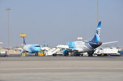 Egypt Air airplanes in airport Royalty Free Stock Photo