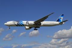 Egypt Air. Heathrow/England August 10, 2012: Boeing 777 from Egypt Air landing at Heathrow/Airport Stock Photos
