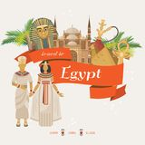 Egypt amazing advertising vector. Egyptian traditional icons in flat design. Holiday banner. Vacation and summer. Stock Photography
