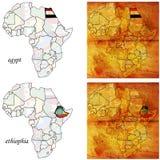 Egypt&ethiophia sur la carte de l'Afrique Photos stock
