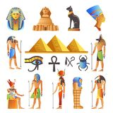 Egypt culture symbols vector isolated icons of gods and sacred animals. Egypt ancient culture symbols and icons set. Vector isolated Egyptian pyramids, Pharaohs stock illustration