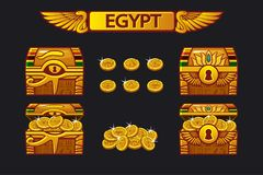 Egypt antique treasure chest and golden coins stock illustration