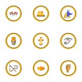 Egypt archeology icons set, cartoon style Stock Image