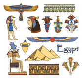 Egypt architecture and ornaments color set stock illustration