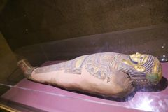 Ancient Mummy at ِAswan Museum Egypt royalty free stock image