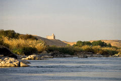 Egypt. Aswan,  the Nile river in the town outskirts Royalty Free Stock Image