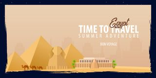 Egypt banner. Time to Travel. Journey, trip and vacation. Vector flat illustration. Egypt banner. Time to Travel. Journey, trip and vacation. Vector flat Stock Images