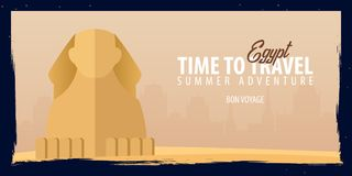 Egypt banner. Time to Travel. Journey, trip and vacation. Vector flat illustration. Egypt banner. Time to Travel. Journey, trip and vacation. Vector flat Stock Image