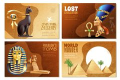 Egypt Banners Set. Of pharaohs tomb world wonder lost civilization myths and legends cartoon compositions vector illustration vector illustration