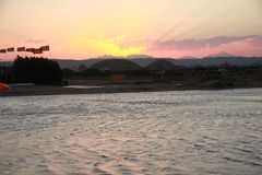 Egypt - Beach shore. Beach shore in El Gouna, Egypt. Kitesurfing Club near Hurghada. Beautiful evening Stock Image