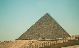 Egypt, Cairo; August 19, 2014 - the Egyptian pyramids in Cairo. The arch of the temple. Gifts, sack Royalty Free Stock Photos