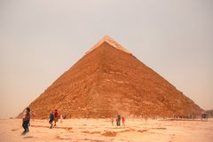 Egypt, Cairo; August 19, 2014 - the Egyptian pyramids in Cairo. The arch of the temple. Gifts, sack Stock Image