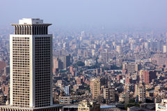 Egypt cairo skyline. Aerial view of the crowded city cairo from cairo tower during sunshine in egypt in africa stock image