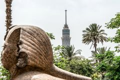 EGYPT Cairo Tower, 187 metres tall concrete tower inspired by the ancient lotus. At the base have the eagle of Saladin royalty free stock images