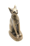 Egypt cat statue. Bronze egypt cat statue isolated over white Royalty Free Stock Image