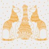 Egypt cat white background. Graphic illustration design Stock Photography