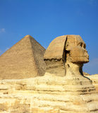 Egypt Cheops pyramid and sphinx. Famous ancient egypt Cheops pyramid and sphinx in Giza Royalty Free Stock Image