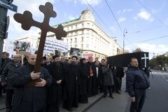 Egypt Christian demonstrate in Vienna. Egyptian Christians in Vienna Demonstrate Against Religious Persecution Stock Photo