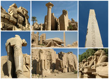 Egypt collage. Collection and collage of Karnak  temple, Luxor, Egypt Stock Image