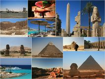 Egypt collage. All in one : landmarks from Egypt royalty free stock photography
