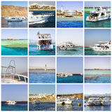 Egypt Collage, tourist boat trip on Red sea, Sharm El Sheikh Stock Image