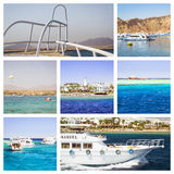 Egypt Collage, tourist boat trip on Red sea, Sharm El Sheikh Royalty Free Stock Photo
