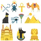 Egypt collection set with traditional symbols of country, signs of ancient Egypt, traditional Egyptian culture vector royalty free illustration
