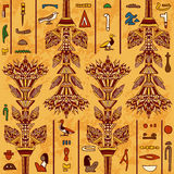 Egypt colorful ornament with ancient Egyptian hieroglyphs on aged paper background,. Stock Photos