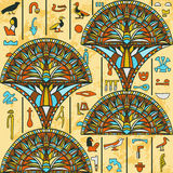 Egypt colorful ornament with ancient Egyptian hieroglyphs on aged paper background,. Stock Images