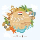 Egypt colorful vector. Modern style. Welcome to Egypt. Egyptian traditional icons in flat design. Vacation and summer Royalty Free Stock Images