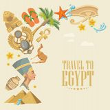 Egypt colorful vector with pyramids. Egyptian traditional icons in flat design. Vacation and summer Stock Photo