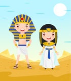 Egypt costume cartoon character couple. In the desert - vector illustration Royalty Free Stock Photos