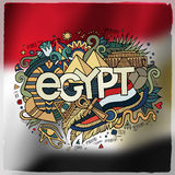 Egypt country hand lettering and doodles elements Stock Image