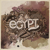 Egypt country hand lettering and doodles elements Stock Photos