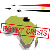 Egypt crisis. With tank and military aircraft royalty free illustration