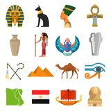 Egypt culture set. Ancient earliest civilization, history and mythology symbols. Vector flat style cartoon illustration  on white background Stock Photos