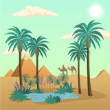 Egypt desert Landscape. Vector concept with palms and camels Royalty Free Stock Photo