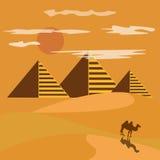 Egypt desert with piramid Stock Photos