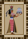 Egypt 1. Egyptian ancient woman with cake. Isolated figure of egypt goddess Stock Photography
