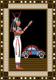 Egypt 4. Egyptian ancient woman with car.  figure of egypt goddess Royalty Free Stock Photography