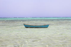 Egypt Egyptian beach with mountains and boat at Red sea Royalty Free Stock Images